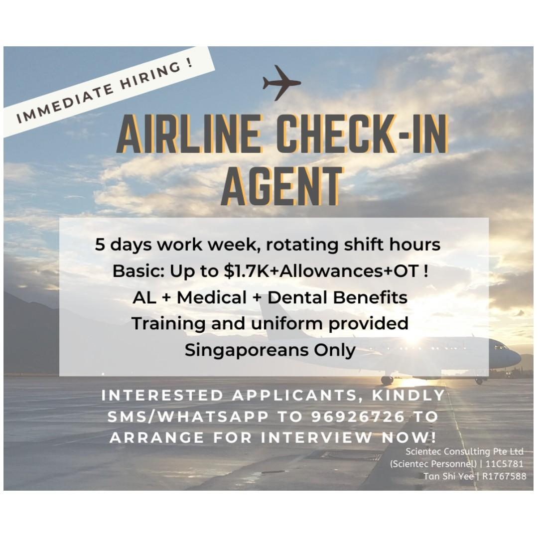 *WALK-IN INTERVIEW* AIRLINE CHECK-IN AGENT (5 DAYS, SHIFTS)