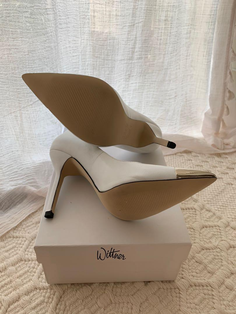 White Stiletto Pumps with Silver Metal Pointed Toes