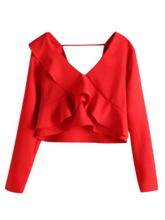 Zara Small Red Cropped Flounce Ruffle Top/ Blouse - Trafaluc