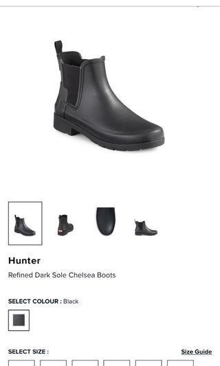 Hunter Chelsea Boots Black size 9