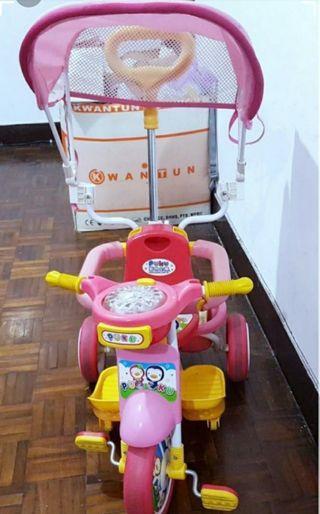 Puku 粉紅三輪車 學步車 附遮陽罩