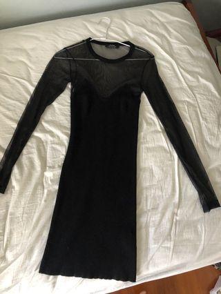 全新 Bershka 歐美 黑色 網紗 性感 透視 長袖 針織洋裝