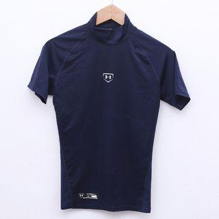 Size L UNDER ARMOUR Tight Top in Navy Pit 16