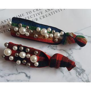 東大門超夯韓版珍珠寬線髮圈 網紅丸子頭 彩虹+紅黑格 2入