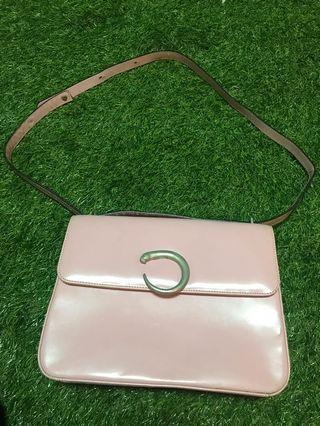 💋💋💋超甜價!絕版品!超限量!Cartier 淡粉紅硬殼手提肩背兩用包