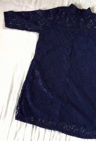 Navy blue lace dress #1111