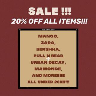 SALE 20% OFF ALL ITEMS!!!