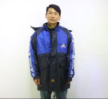 「Adidas 寶藍色 90s style 黑色 連帽 鋪棉 古著 外套 胸:66 長:83 @舊到過去」