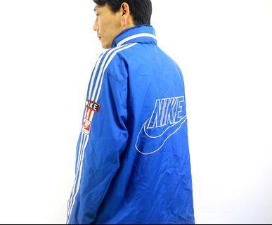 「NIKE 寶藍色 白色 立領 古著 風衣 外套 肩:54cm 長:70cm @舊到過去」