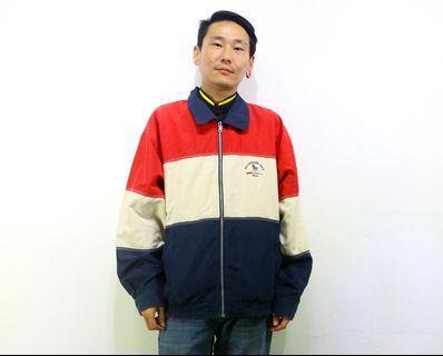 「深藍色 白色 深紅色 撞色 80s style vintage 古著 風衣 外套 肩:57 長:67 @舊到過去」