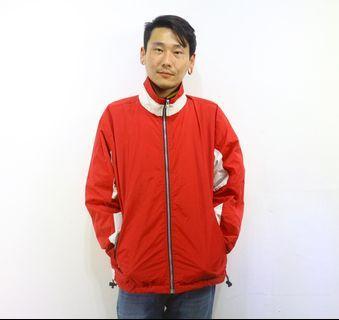 「紅白色 復古 基本款 ㄑ運動外套 古著 風衣 外套 肩:51cm 長:69cm @舊到過去」