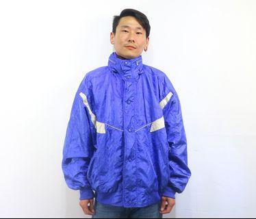 「紫色 亮面 高領 80s vintage 運動外套 古著 風衣 外套 肩:60cm 長:70cm @舊到過去」