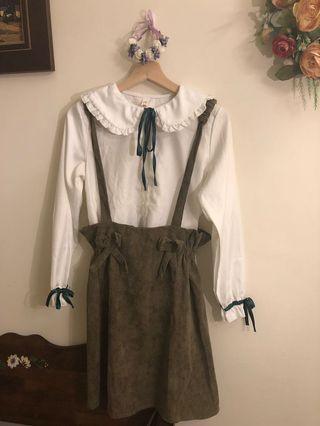 復古可愛風格吊帶裙❤️
