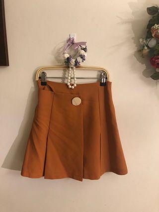 復古磚橘色金色鈕扣裙