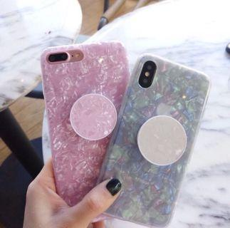 Softcase+pop socket pearl IPhone,Oppo
