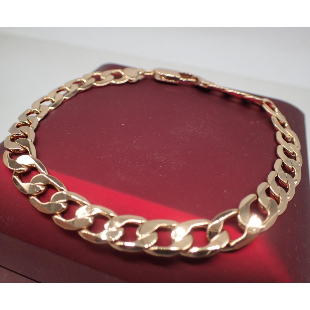 18KGP Yellow gold Plated 10mm Crub Chain men bracelet 8' 20cm