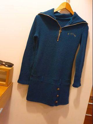 凱特小姐出清🌸湖水藍長版針織洋裝 #剁手時尚