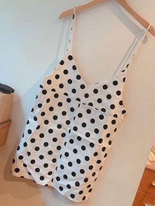 凱特小姐出清🌸法式白色點點寬鬆吊帶裙 #剁手時尚