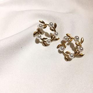 復古珍珠橄欖枝耳環