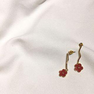復古紅花耳環 花朵耳環
