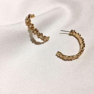 復古珍珠花圈半圓耳環 花朵耳環 花耳環 珍珠耳環 圈圈耳環