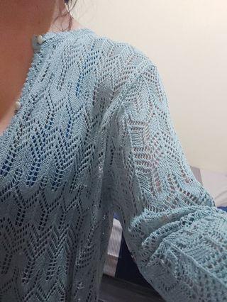 Cardigan jaring (soft blue)