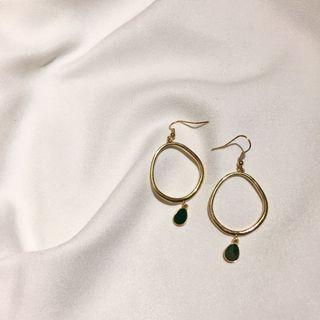 (可改夾)復古墨綠水滴耳環 耳夾 夾式耳環
