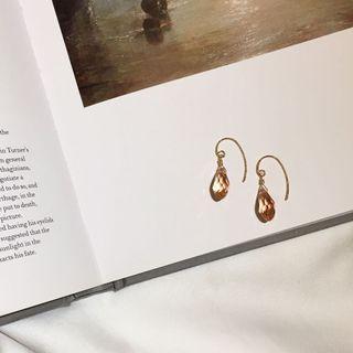 設計款 粉色水晶耳勾耳環 耳勾 簡約耳環 耳環 水晶耳環