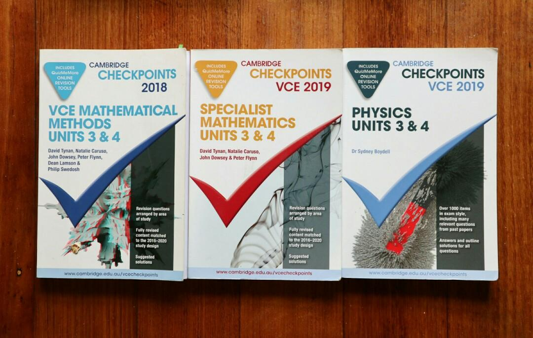 2019 Unit 3/4 checkpoints for Methods, specialist and physics