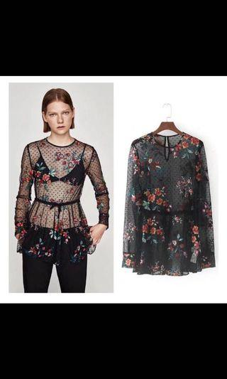 Ayumi organdy floral blouse