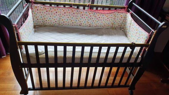 Babylove babycot (solid wood all in one cot) convertible to single bed.
