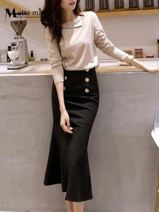 韓風 復古毛呢包臀氣質排扣魚尾高腰中長裙
