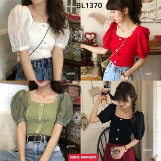 Blouse import Puffy Sleeves Combi Knit Top BL1370  Blouse polos blouse casual blouse rajut blouse simpel