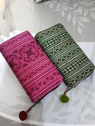 泰製民族 棉織布長夾。綠/紅