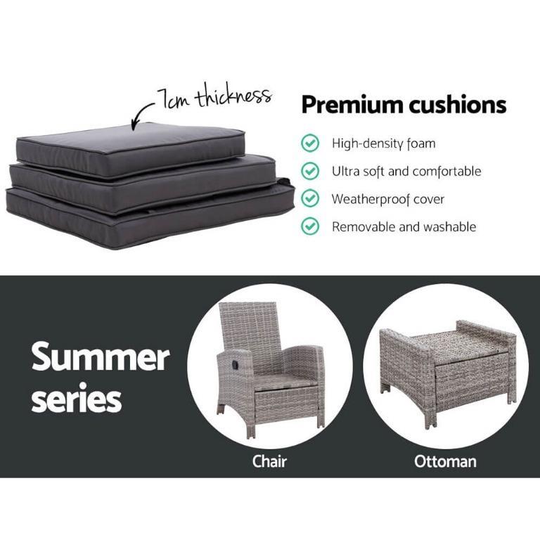 2PC Sun lounge Recliner Chair Wicker Outdoor Furniture Patio Garden Grey