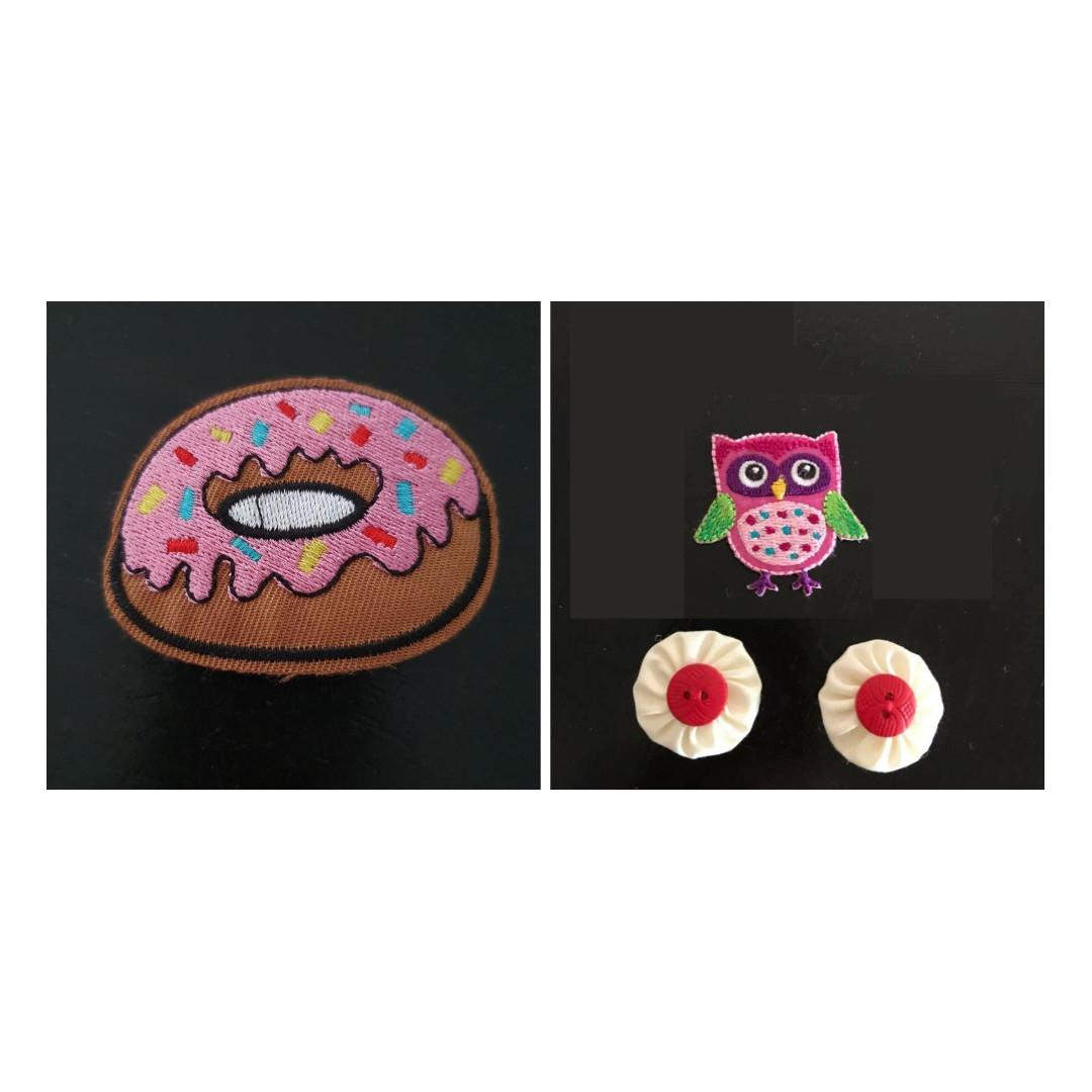 4x Random Embroidered Appliques donut owl and pinwheels craft