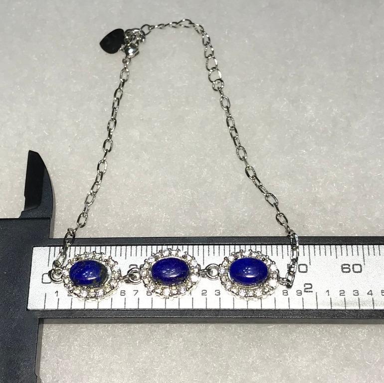 9月誕生石-天然青金石三珠銀手鍊 925銀