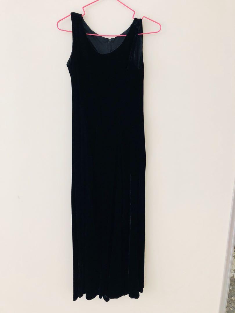 黑色絲絨長版洋裝