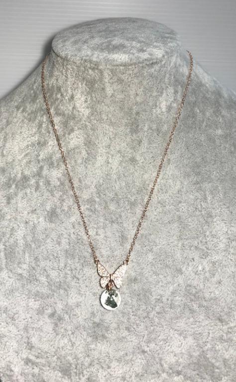 「異像水晶」~天然幽靈蝴蝶玫瑰金項鍊