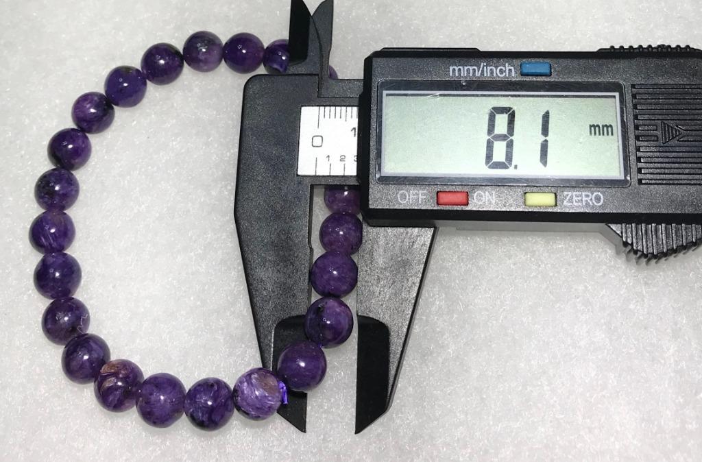 佩飾禮品美麗新選擇~天然紫龍晶「查羅石」單圈圓珠手鍊 8+