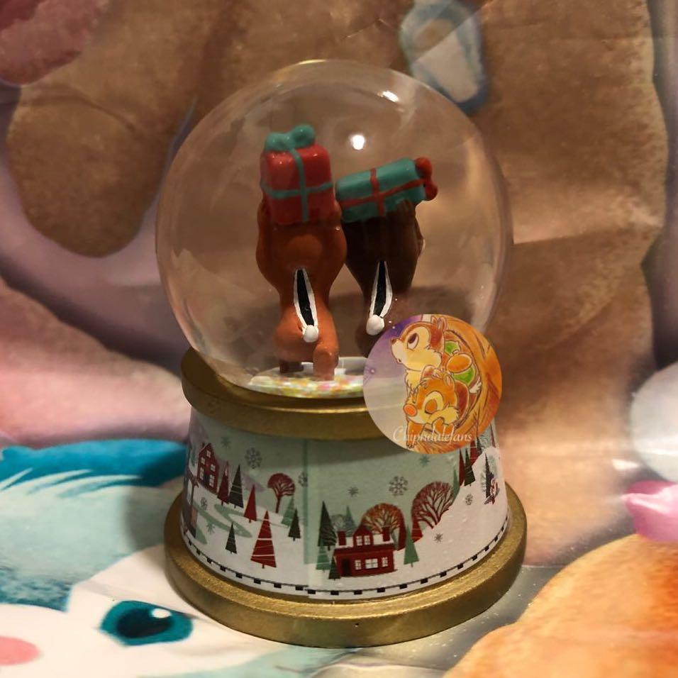香港迪士尼樂園 Christmas 聖誕飄雪水晶球 Mini-Figure 迷你裝飾擺設盲盒系列~Chip n Dale 鋼牙大鼻款❣️開盒只為 Check 款❣️