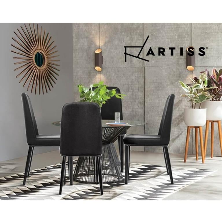 Artiss Dining Chairs Replica Kitchen Chair Black Fabric Padded Retro Iron Leg x2