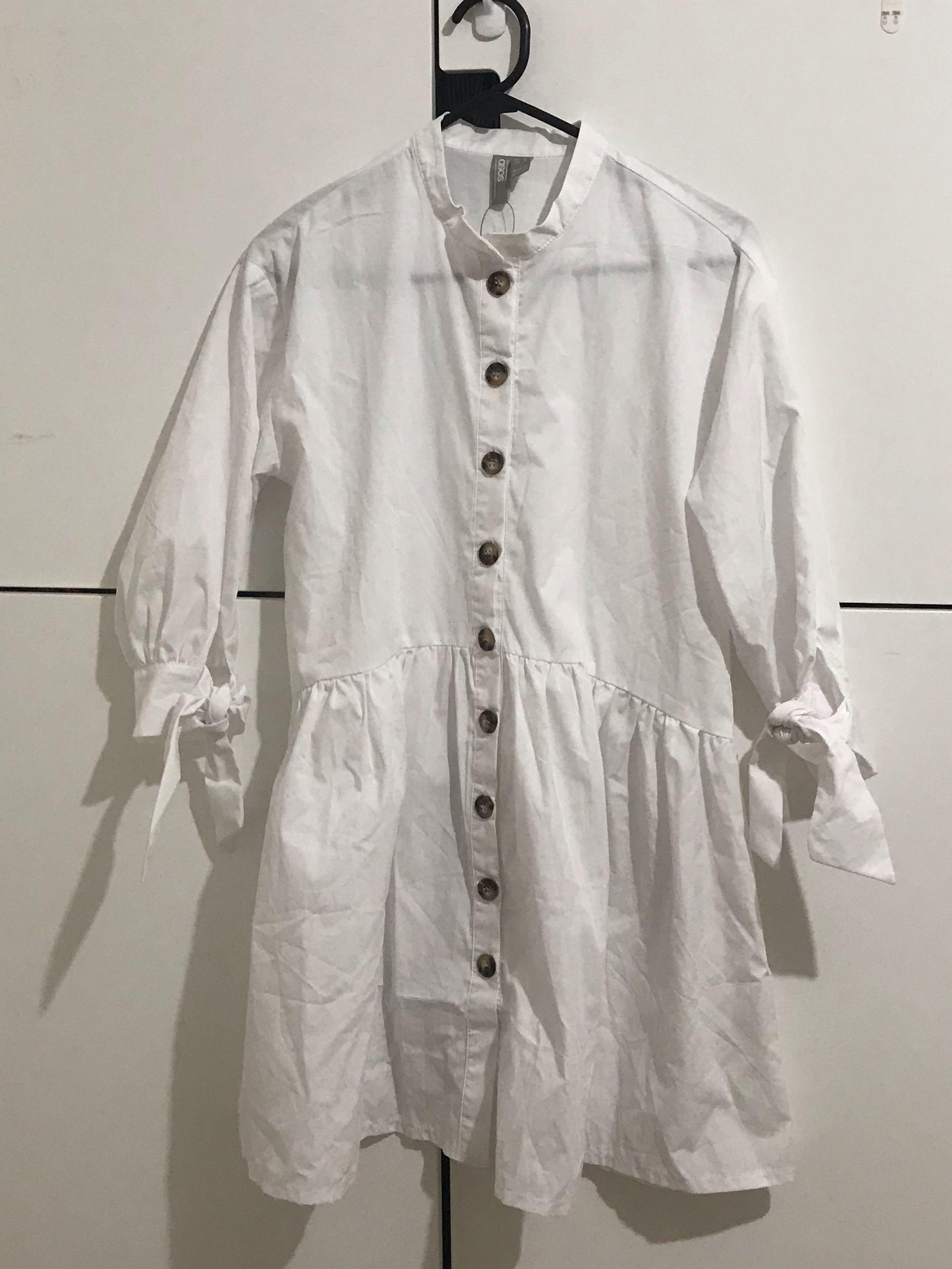 Asos DESIGN white dress w/ grandad collar / tied sleeves / tortoise shell buttons