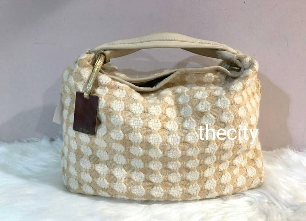 AUTHENTIC FURLA TWEED BAG - FURLA TAG CHARM INTACT - OVERALL OK - (SIZE: 34 X 24 CM APPROX)