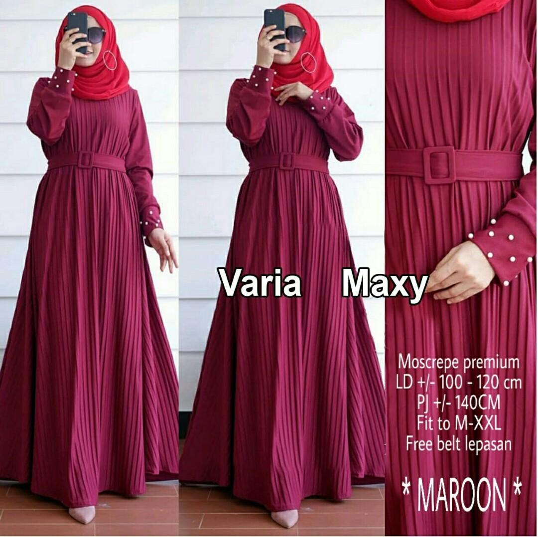 Baju Gamis Maxi Muslim Plisket Varia Wanita