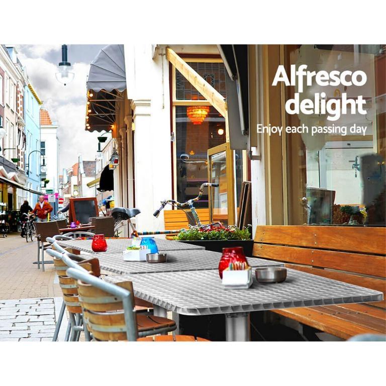 Bar Table Outdoor Furniture Adjustable Aluminium Pub Cafe Indoor Square Gardeon