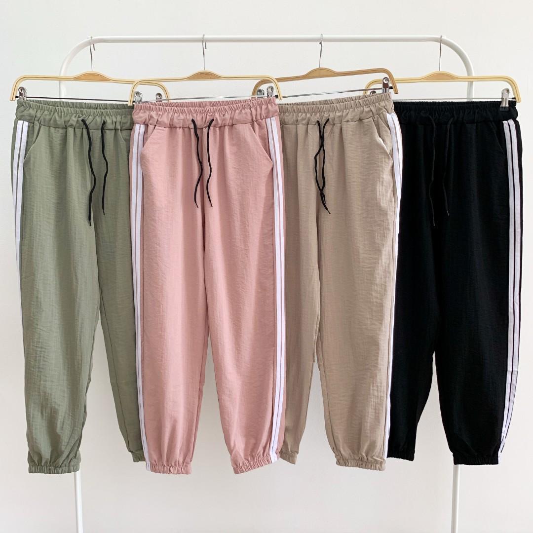 C7307 Side List Jogger Pants jogger wanita import jogger list samping jogger cewek celana jogger katun jogger import