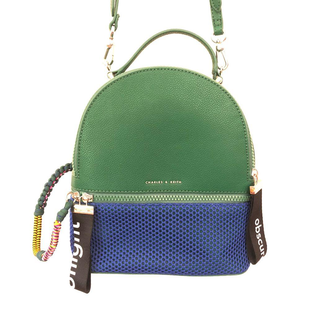 CHARLES & KEITH GREEN & BLUE BACKPACK & SHOULDER BAG