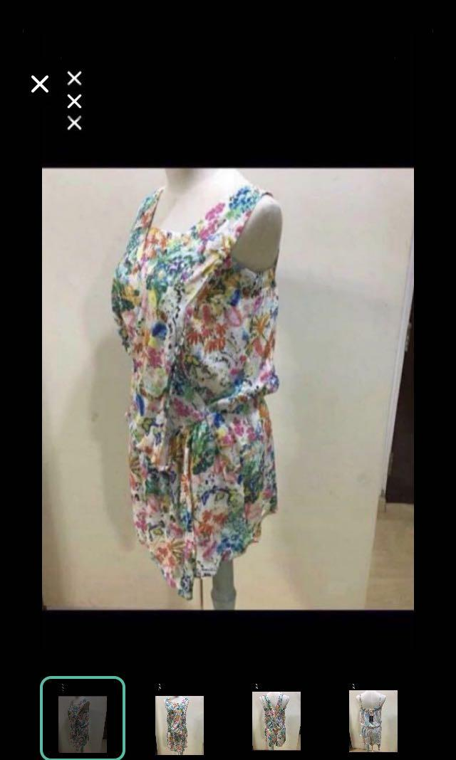 CLEARANCE SALES {Women's Fashion - Romper} BN promod Brand Beautiful Rainbow Floral Romper With Side Pockets