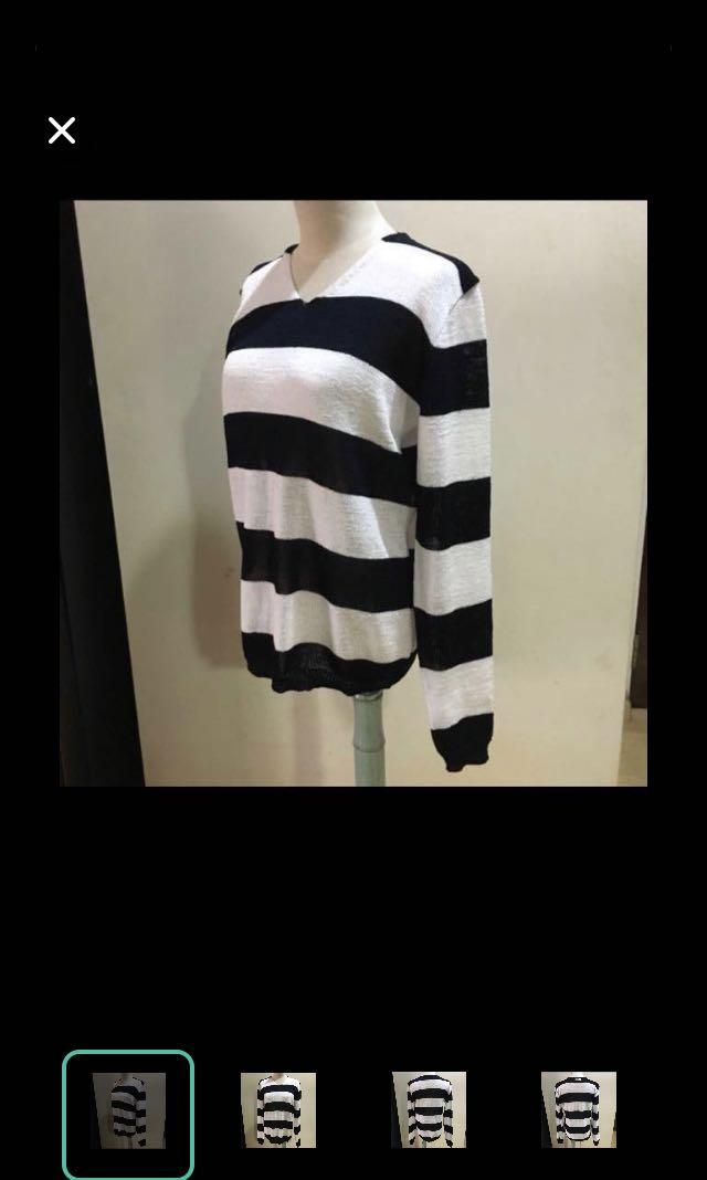 CLEARANCE SALES {Women's Fashion - Sweater} BN Mario Homme Brand Beautiful Knitted Black/White Stripe Long Sleeve Woven Top Sweater Made In Korea